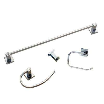 Contempo 4-Piece Bathroom Hardware Accessory Set in Chrome