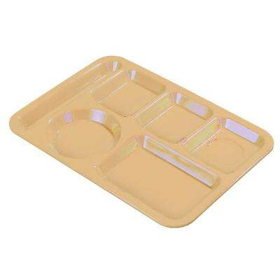 6 Compartment 13.87 x 9.87 Polycarbonate Left Hand Tray in Tan (Case of 24)