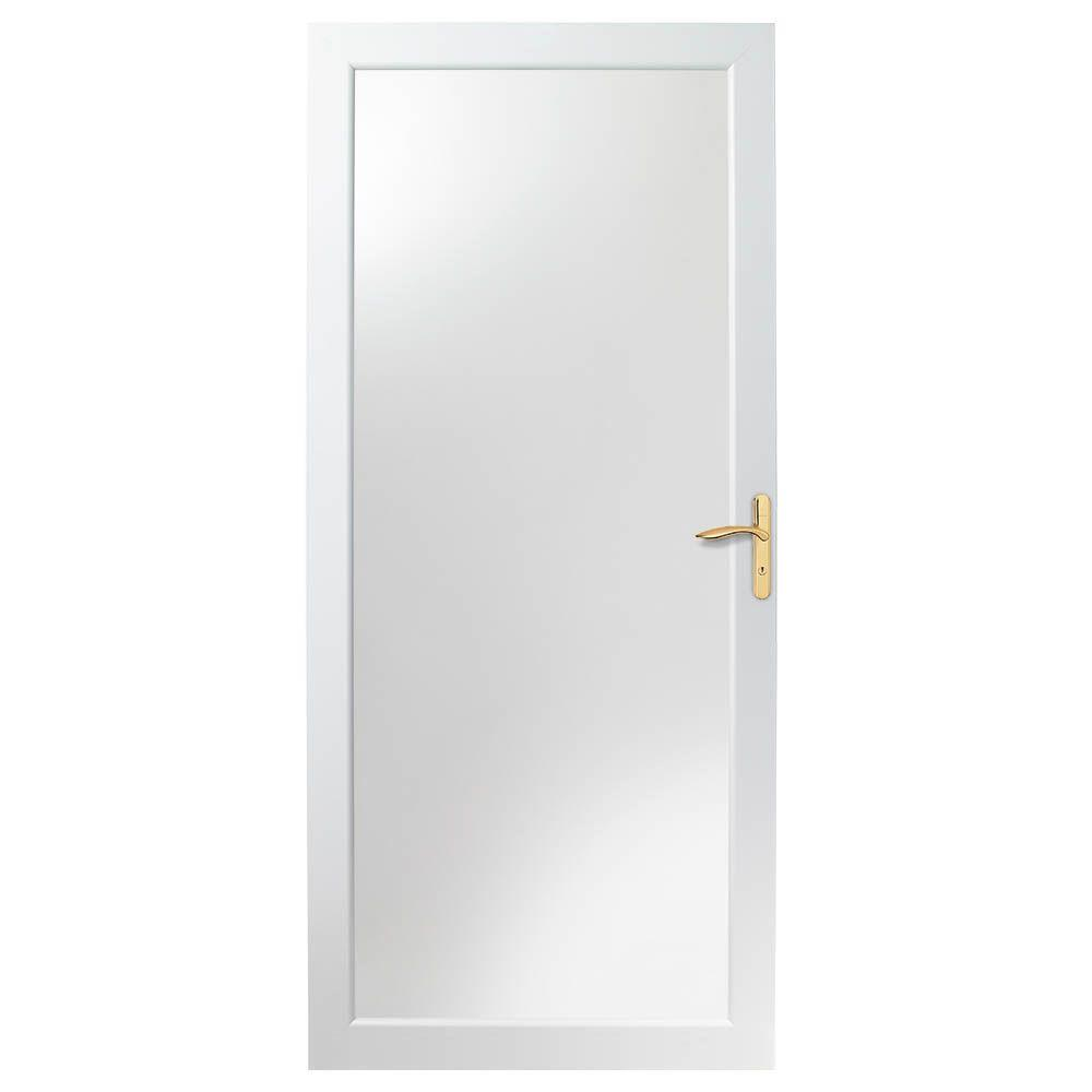 Andersen 36 in. x 80 in. 4000 Series White Universal Fullview Aluminum Storm Door with Brass Hardware