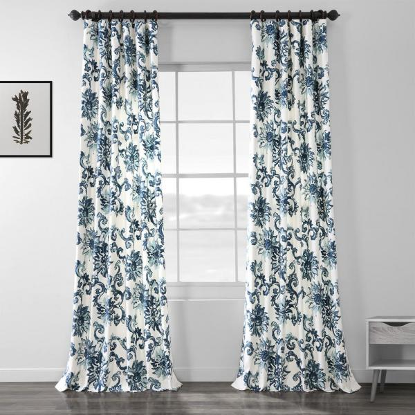 Indonesian Blue Room Darkening Printed Cotton Twill Curtain - 50 in. W x 108 in. L