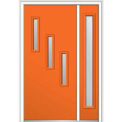 50 in. x 80 in. Davina Clear Low-E Glass Left-Hand 3-Lite Modern Painted Steel Prehung Front Door with Sidelite