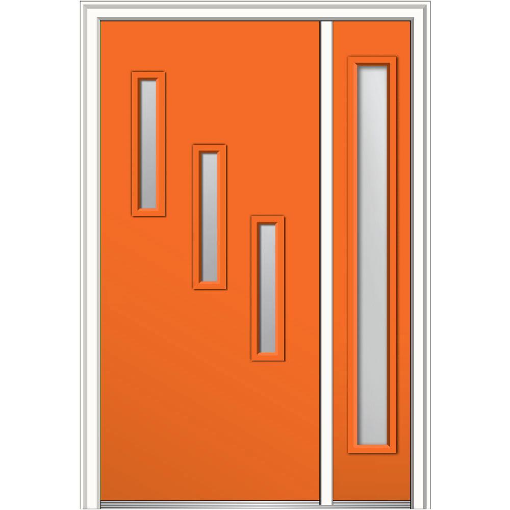 MMI Door 53 in. x 81.75 in. Davina Clear Low-E Glass Left-Hand 3-Lite Modern Painted Steel Prehung Front Door with Sidelite