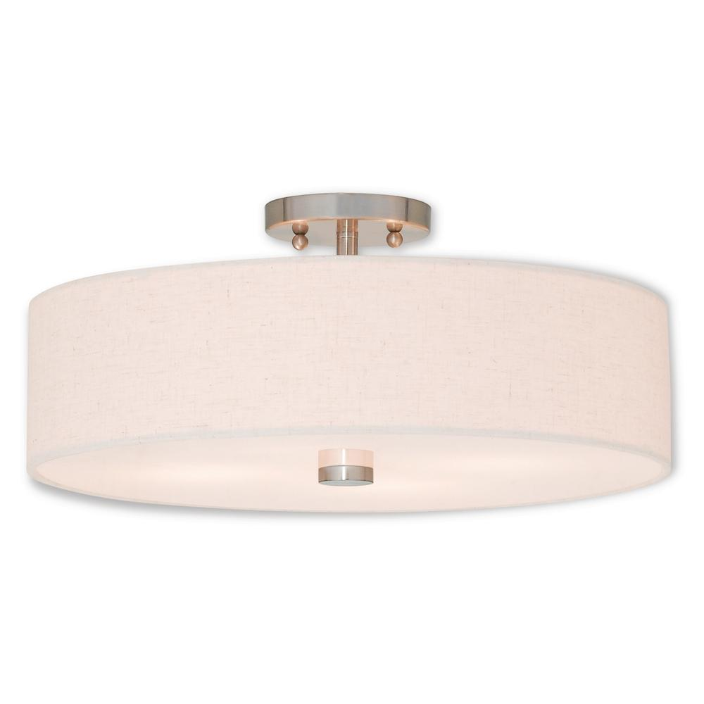 Livex Lighting Meridian 4-Light Brushed Nickel Semi-Flush Mount
