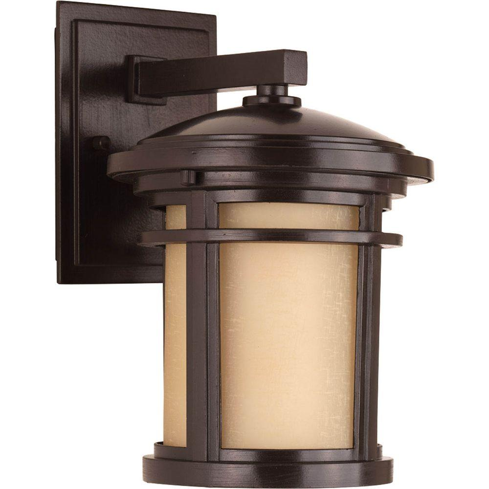 Progress Lighting Wish Collection 1-Light 10.4 in. Outdoor Antique Bronze Wall Lantern Sconce