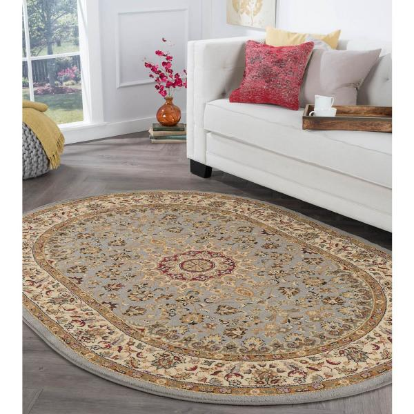 Tayse Rugs Elegance Blue 7 Ft X 10 Ft Oval Indoor Area Rug 5396 Blue 7x10 Oval The Home Depot
