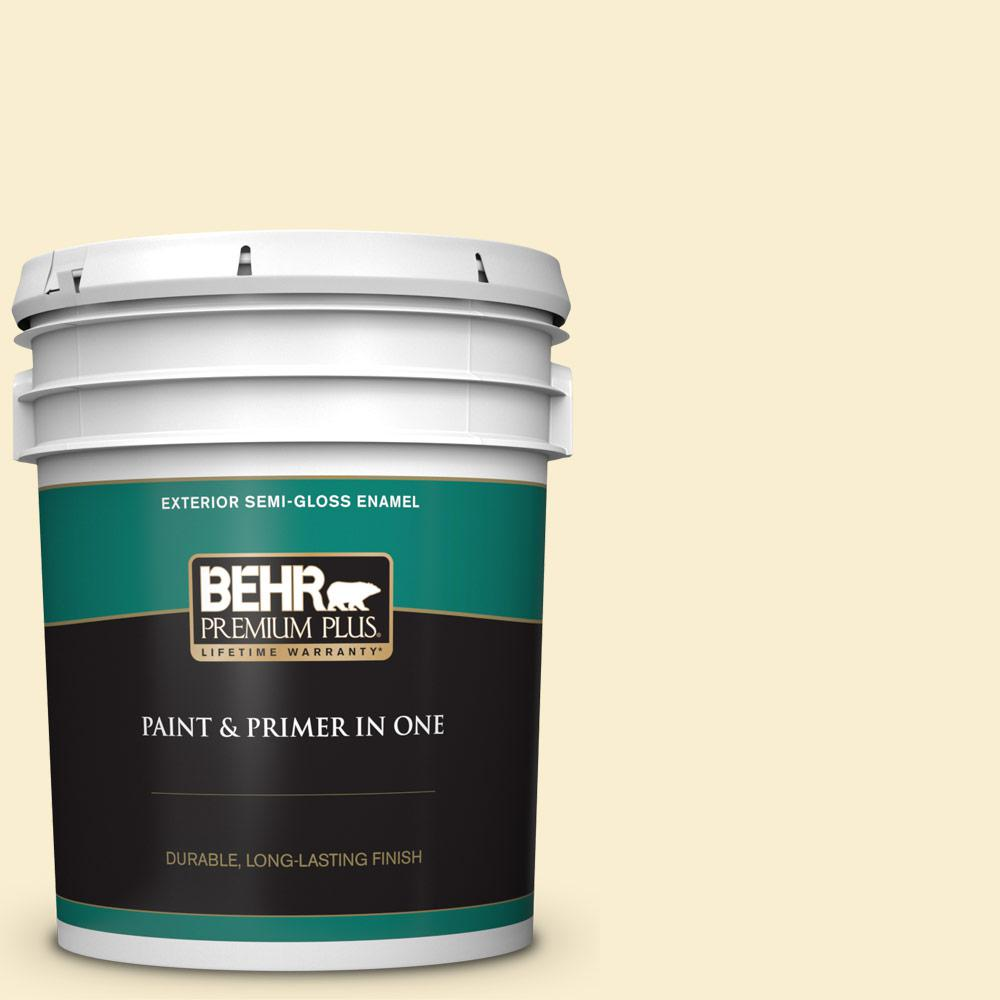 Behr Premium Plus 5 Gal 360a 2 Morning Sunlight Semi Gloss Enamel Exterior Paint And Primer In One 505005 The Home Depot