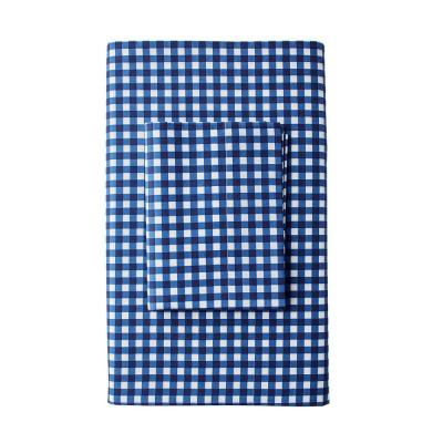 Gingham 200-Thread Count Cotton Percale Flat Sheet
