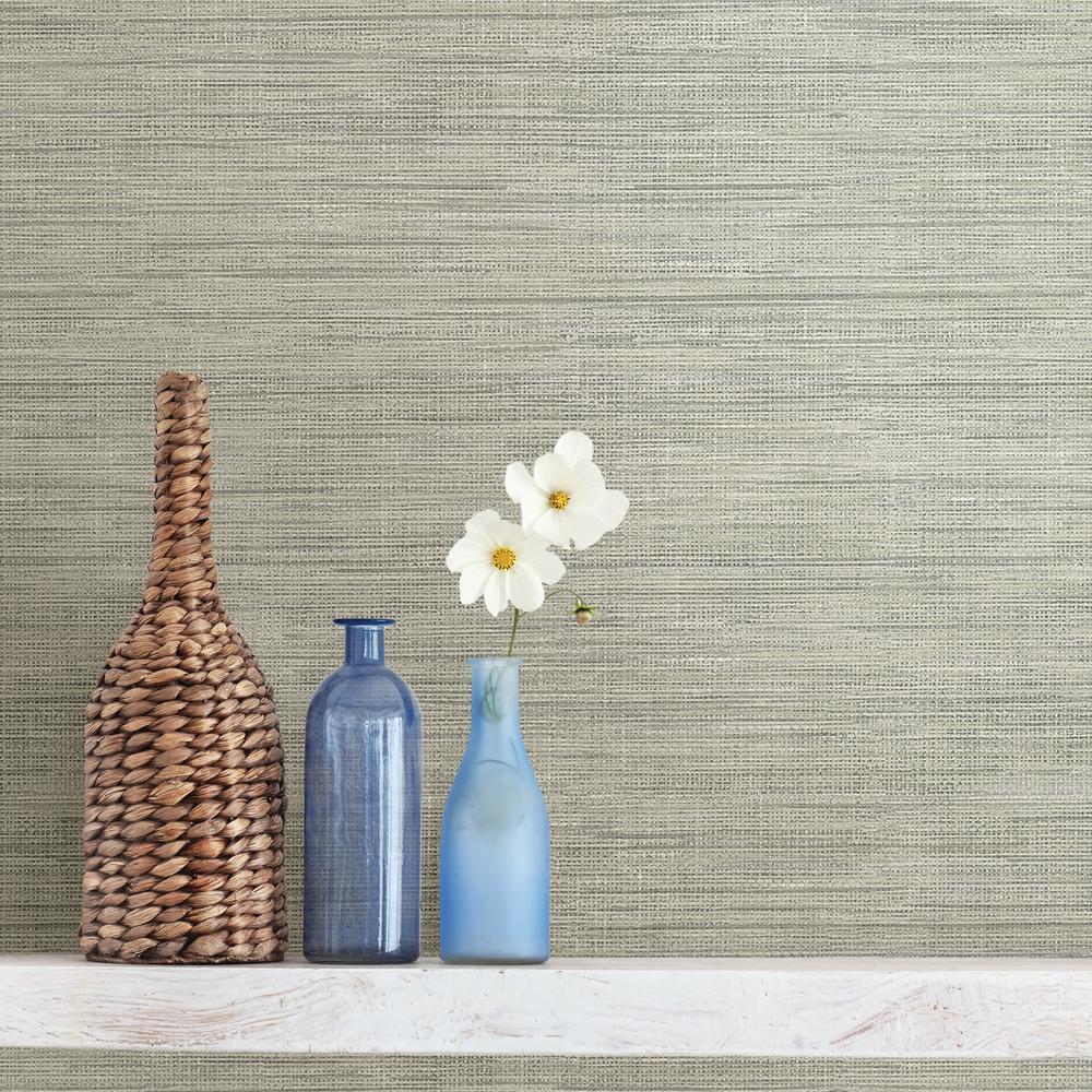 Brewster Wallcovering Co FD23285 Island Grey Faux Grasscloth Wallpaper,