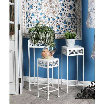 White Iron Plant Stands (Set of 3)