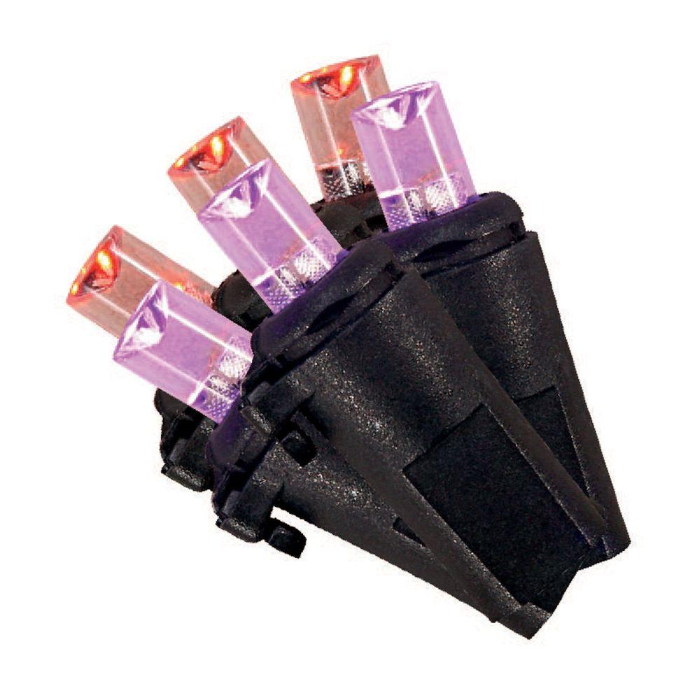 Home Accents Holiday 100-Light Purple and Orange LED 3 Functions Halloween String Lights