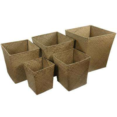 Oriental Furniture 14.25 in. x 16.5 in. Hand Woven Set of Five Natural Storage Bins