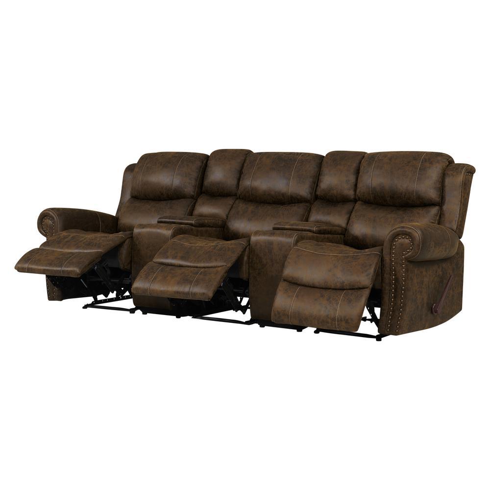 Amazing Prolounger Distressed Saddle Brown Faux Leather 3 Seat Inzonedesignstudio Interior Chair Design Inzonedesignstudiocom