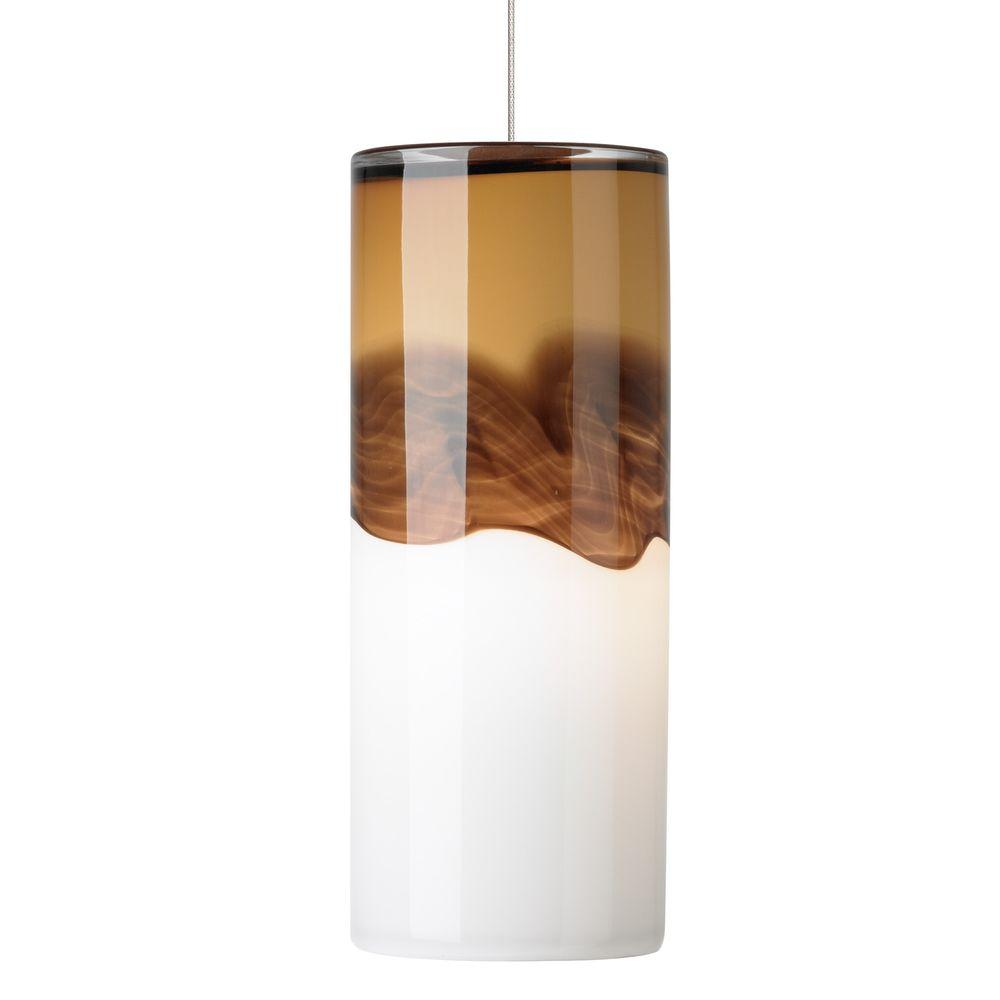 Lbl Lighting Rio 1 Light Satin Nickel Led Mini Pendant With Amber Dark Brown