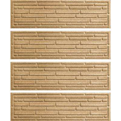 Gold 8.5 in. x 30 in. Broken Brick Stair Tread Cover (Set of 4)