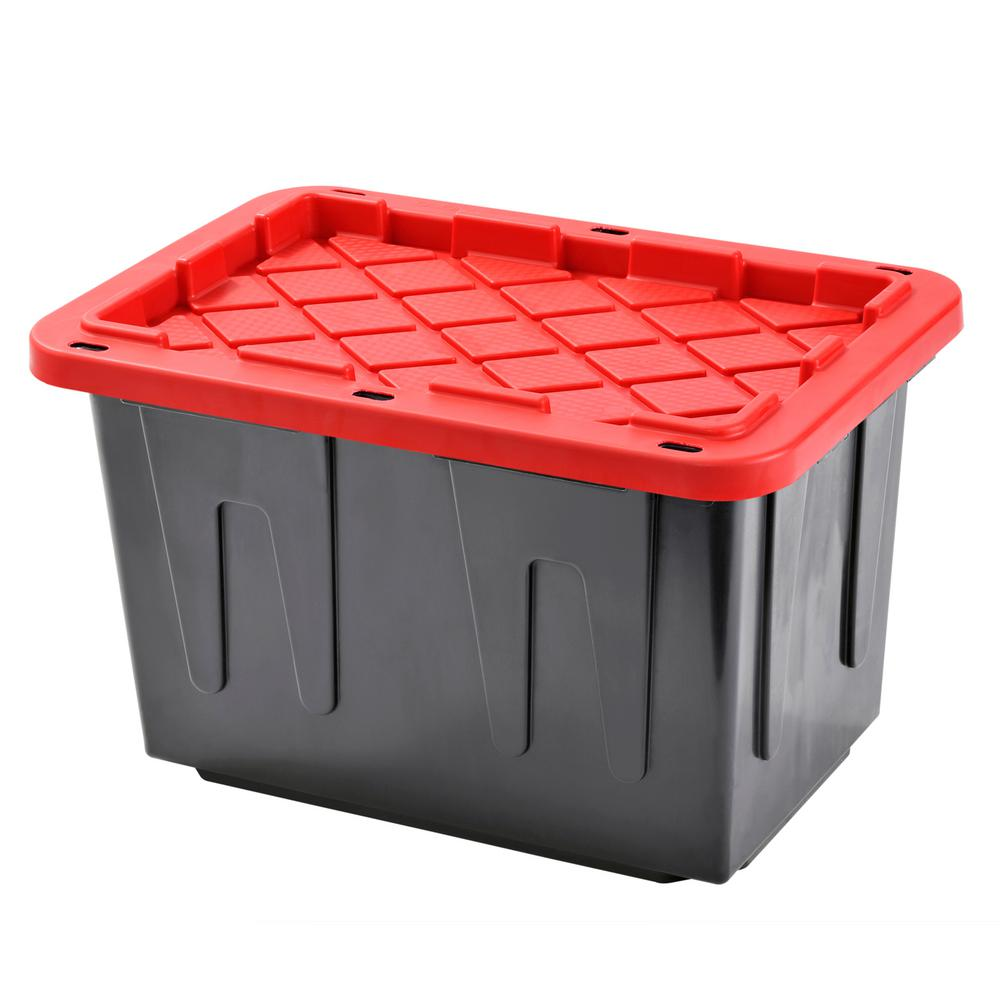 Heavy Duty 23 Gal Tote Black Bottom And Red Snap Lid 4 Pack