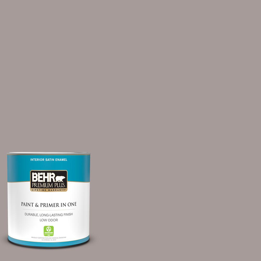 Behr Premium Plus 1 Qt Ppu17 12 Smoked Mauve Satin Enamel Low Odor Interior Paint And Primer In One 740004 The Home Depot