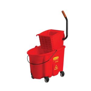 Rubbermaid Wave Brake 35 Qt. Mop Bucket and Side-Press Red Wringer Combo by Rubbermaid