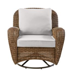 Beacon Park Brown Wicker Outdoor Patio Swivel Lounge Chair with CushionGuard Stone Gray Cushions
