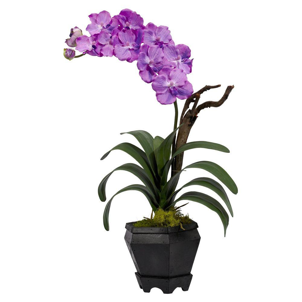 Nearly Natural 24 in. H Purple Vanda with Black Hexagon Vase Silk Arrangement A perfect recreation of one of nature's most sought-after flowers, this delicate Vanda has it all. Symmetrical, cascading green leaves. Soft bloom delicately climbing skyward. No need for water or care. And this beautiful flower comes in a striking hexagon black vase with faux moss, giving it a bold mix of colors that will draw the eye and please the senses.