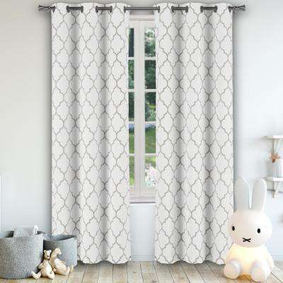 Solid Grey Polyester Blackout Grommet Window Curtain 38 in. W x 84 in. L (2-Pack)