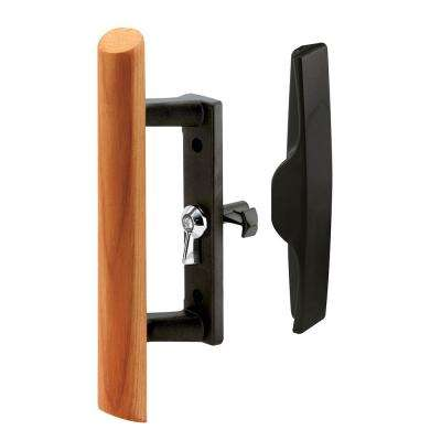 3-1/2 in. Black Sliding Glass Door Handle with Wooden Pull
