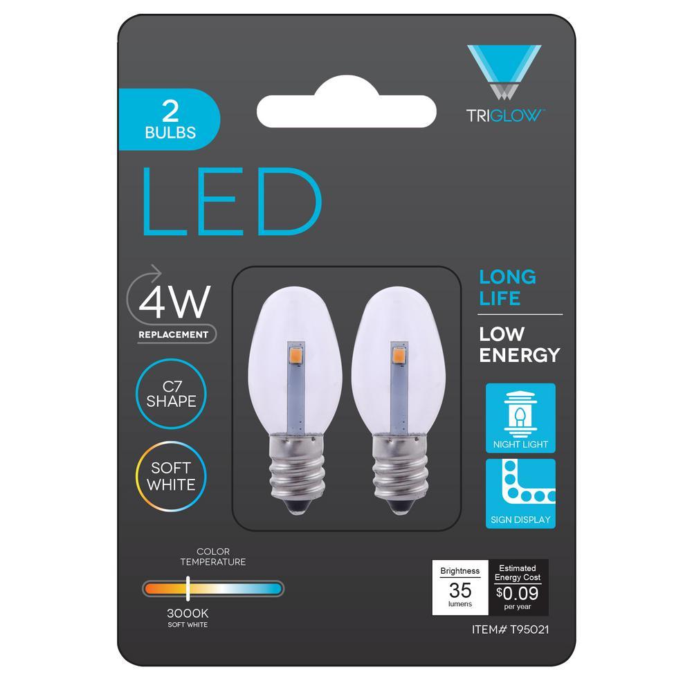 C7 Led Bulb >> Triglow 0 5 Watt C7 Led Night Light Bulb 2 Pack