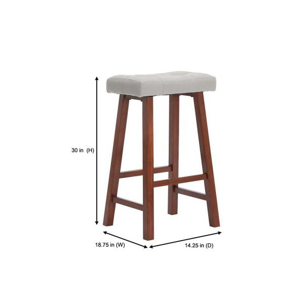 StyleWell - StyleWell Walnut Wood Upholstered Bar Stool with Riverbed Brown Saddle Seat (Set of 2) (18.75 in. W x 30 in. H)