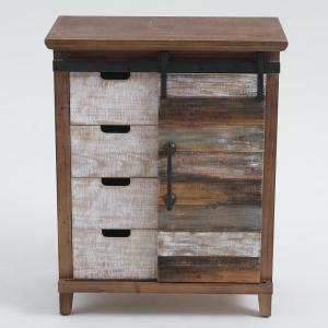 Rustic Chic Wood Cabinet with Sliding Door