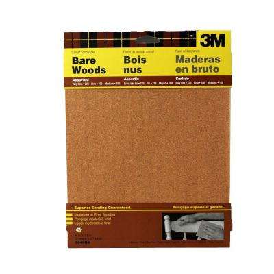 9 in. x 11 in. Assorted Grit Medium, Fine and Very Fine Garnet Sandpaper (5 Sheets-Pack)