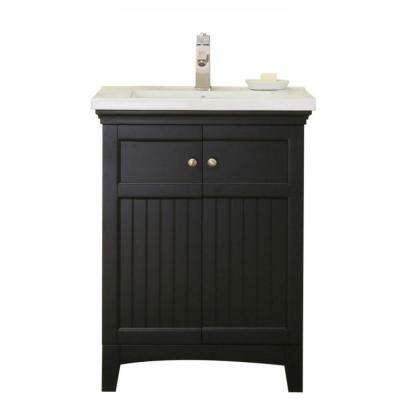 24 in. Vanity in Espresso with 1.5 in. Porcelain Vanity Top in White with White Basin - WLF7016-E