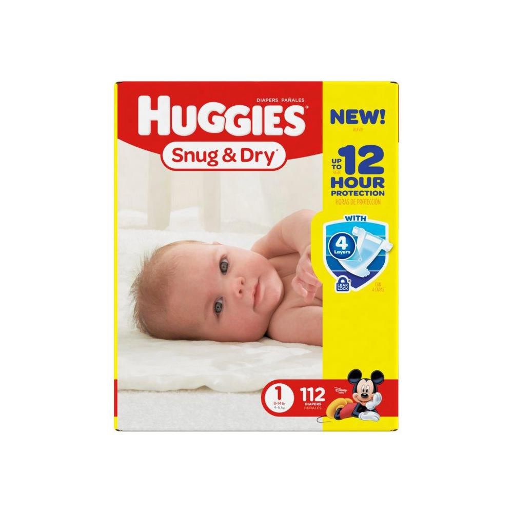 Huggies Snug And Dry Diapers Size 1 Big 112 Count
