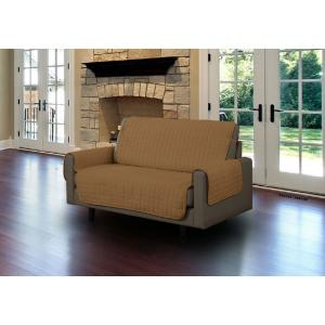 Camel Microfiber Loveseat Pet Protector Slipcover with Tucks and Strap by