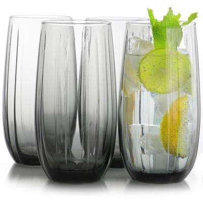 Lotus 16.9 oz. Grey Cooler Glass (4-Pack)