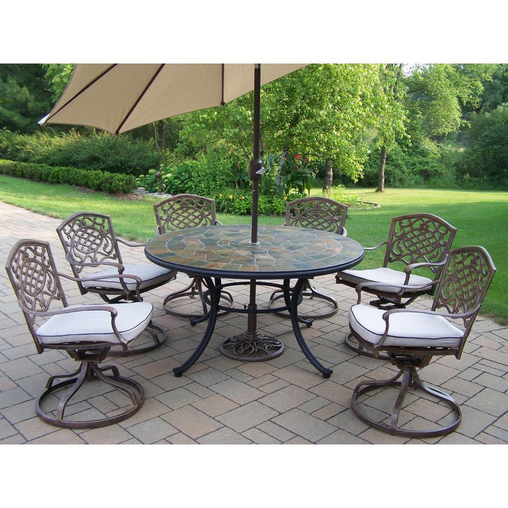 Antique Bronze 9-Piece Aluminum Outdoor Dining Set with Tan Cushions