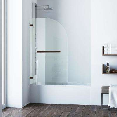 Orion 34 in. x 58 in. Frameless Hinged Tub Door in Antique Rubbed Bronze with Clear Glass