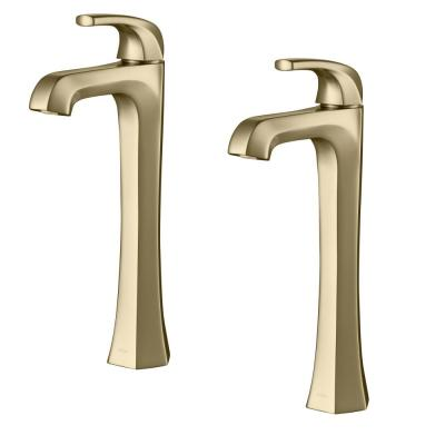 Esta Single Hole Single-Handle Vessel Bathroom Faucet with Pop-Up Drain in Brushed Gold (2-Pack)