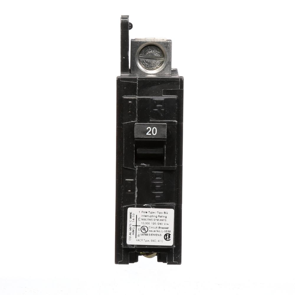 20 Amp 1-Pole BQ 10 kA Lug-In/Lug-Out Circuit Breaker with Side