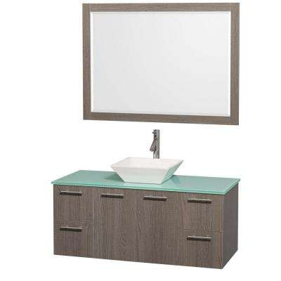 Amare 48 in. Vanity in Grey Oak with Glass Vanity Top in Aqua and White Porcelain Sink and Mirror
