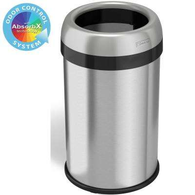 13 Gal. Round Open Top Commercial Grade Stainless Steel Trash Can and Recycle Bin with Dual-Deodorizer