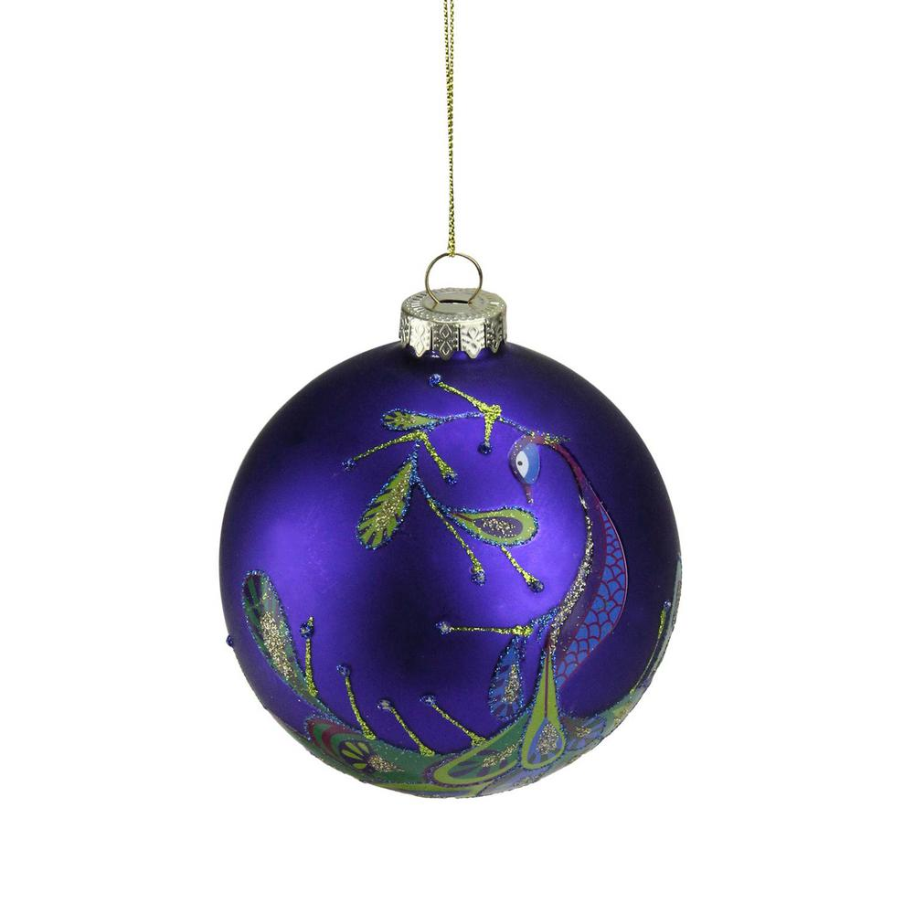 regal peacock purple glittered glass ball christmas ornament - Peacock Blue Christmas Decorations