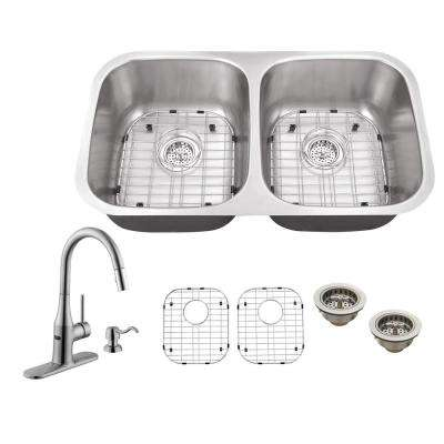 All-in-One Undermount Stainless Steel 32 in. Double Bowl Kitchen Sink with Faucet
