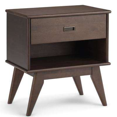 Draper 1-Drawer Mid Century Walnut Brown Nightstand