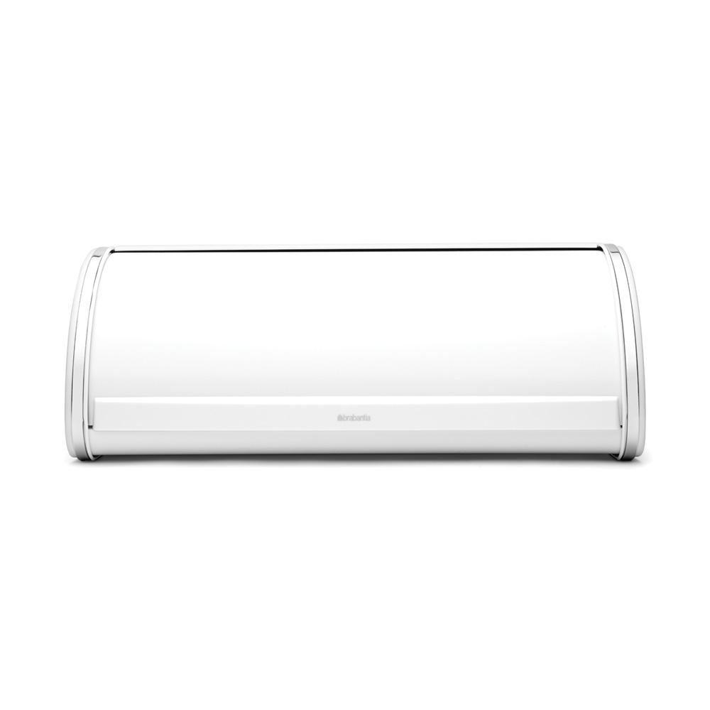 Brabantia Roll Top Bread Box, White A bread bin that doesn't take up extra space in your kitchen! Our roll top bread bin has a flat top, so you can store canisters etc. on top of it. With large grip for easy opening. Color: White.
