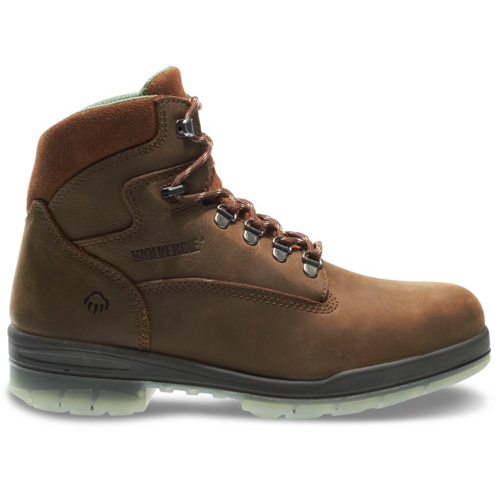 detailing first rate reasonably priced Wolverine Men's I-90 Durashocks Size 10.5EW Brown Nubuck Leather Waterproof  Steel Toe 6 in. Work Boot
