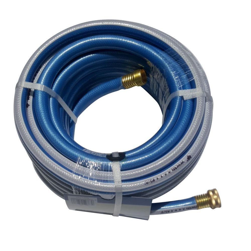 Worth Garden 5/8 in. Dia x 75 ft. 4 Stars Blue Garden Hose The 4 stars 5/8 in. x 75 ft. blue medium duty hose weights 8 lb. It is a flexible and durable product. The water flows smoothly from the blue and yellow strips tube. A handsome piece for you to add in the garden.