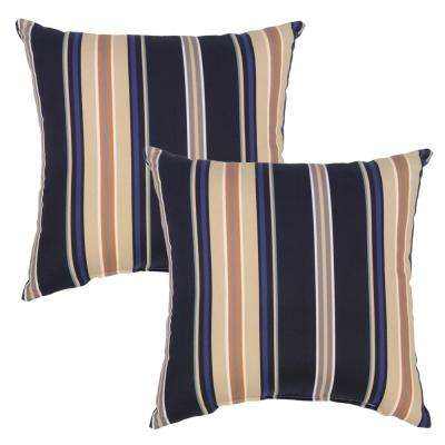 Caprice Stripe Square Outdoor Throw Pillow (2-Pack)