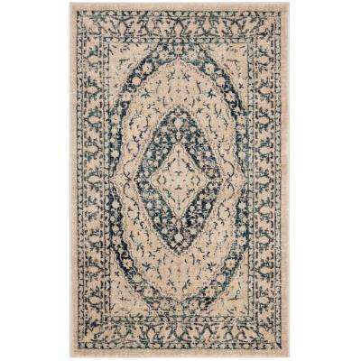 Evoke Beige/Navy 3 ft. x 5 ft. Area Rug