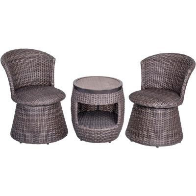 3-Piece Aluminum Outdoor Patio Bistro Set with 2 Wicker Swivel Stool Chair and 17.3 in. Round Crafttech Top Bistro Table