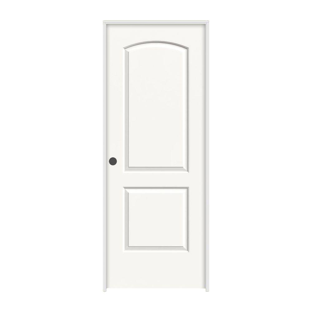 JELD-WEN 28 in. x 80 in. Continental White Painted Right-Hand Smooth Molded Composite MDF Single Prehung Interior Door