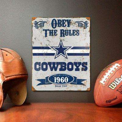14.5 in. H x 11.5 in. D Heavy Duty Steel Dallas Cowboys Embossed Metal Sign Wall Art